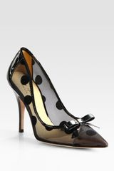 Kate Spade Polkadot Patent Leather Mesh and Velour Point Toe Pumps
