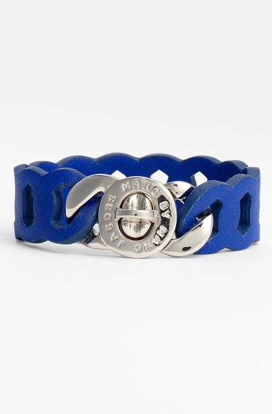 Marc By Marc Jacobs Katie Leather Bracelet in Blue (meteorite blue/ silver) - Lyst