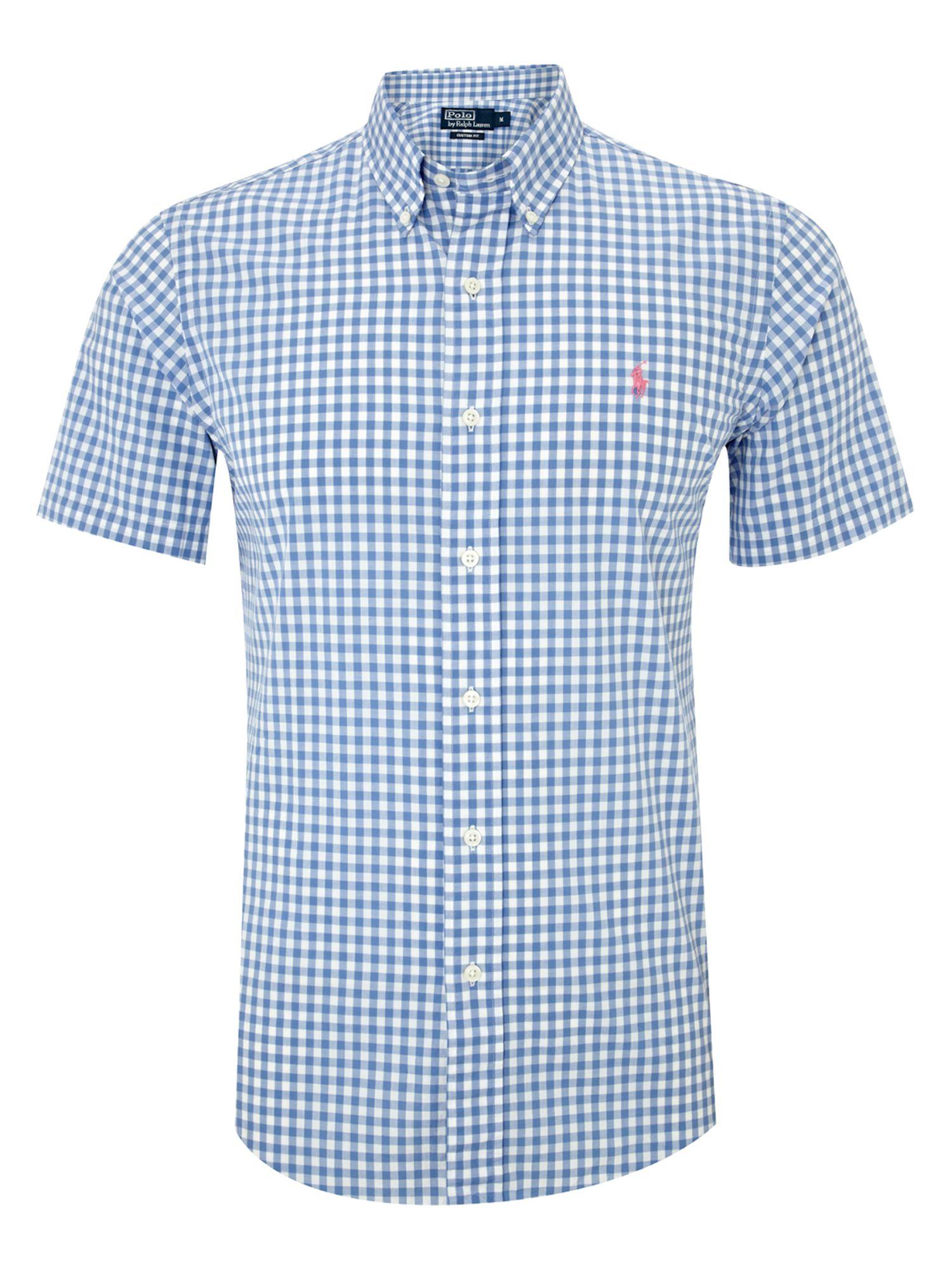 Polo Ralph Lauren Short Sleeved Gingham Shirt In Blue For