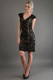 Sue Wong Short Sleeve Beaded Dress - Lyst