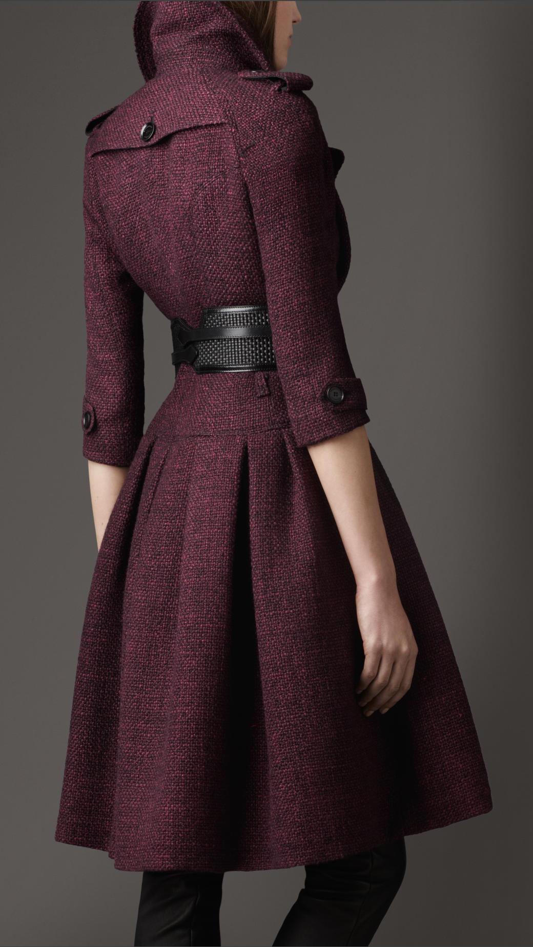 Lyst Burberry Full Skirted Tweed Coat In Purple