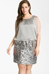 Js Boutique Chiffon Sequin Dress - Lyst