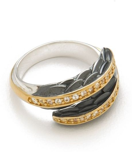 Elizabeth And James White Sapphire Feather Ring in Gold (white) - Lyst