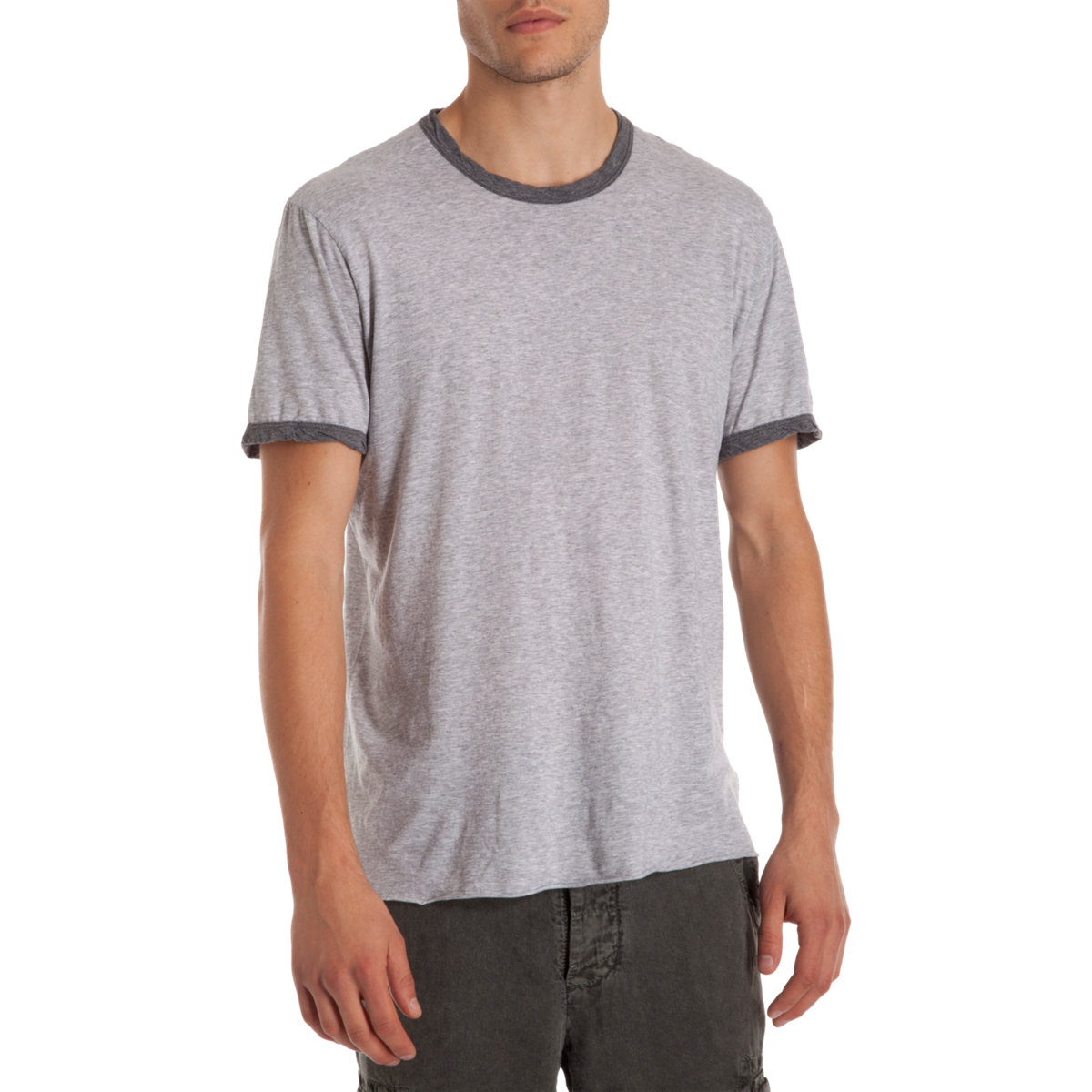 James perse ringer tee in gray for men grey lyst for James perse t shirts sale
