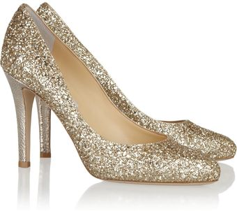 Jimmy Choo Vikki Glittered Leather Pumps - Lyst