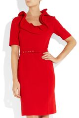 Oscar De La Renta Ruffled WoolCrepe Dress in Red - Lyst