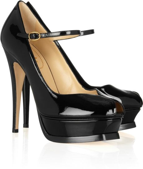 Saint Laurent Tribute Patentleather Mary Jane Pumps in Black - Lyst