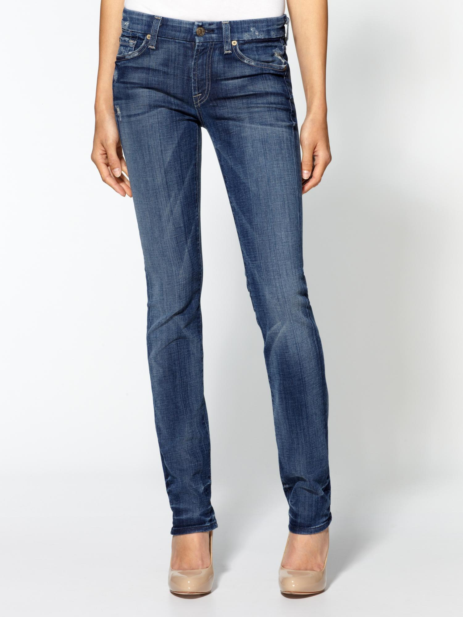 7 for all mankind kimmie straight leg jeans in blue grinded medium blue lyst. Black Bedroom Furniture Sets. Home Design Ideas