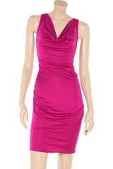 Catherine Malandrino Draped Silk Blend Dress in Pink (fuchsia) - Lyst