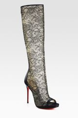 Christian Louboutin Alta Lace and Satin Knee High Boots