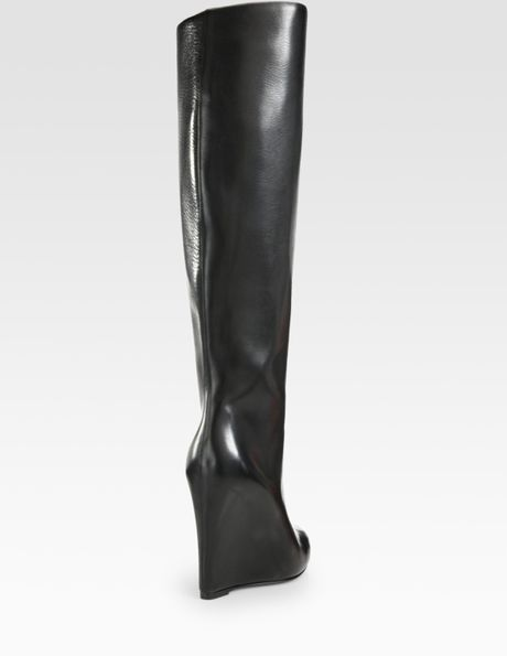 christian louboutin leather overtheknee wedge boots in