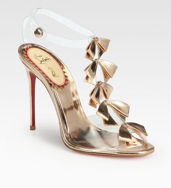 Christian Louboutin Translucent Bow Bow Metallic Leather Sandals - Lyst