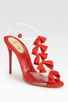Christian Louboutin Translucent Bow Bow Grosgrain Ribbon Sandals - Lyst