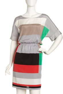 DKNY Colorblock Gathered Waist Dress - Lyst