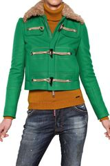 DSquared2 Fur Collar Wool Cloth Jacket - Lyst