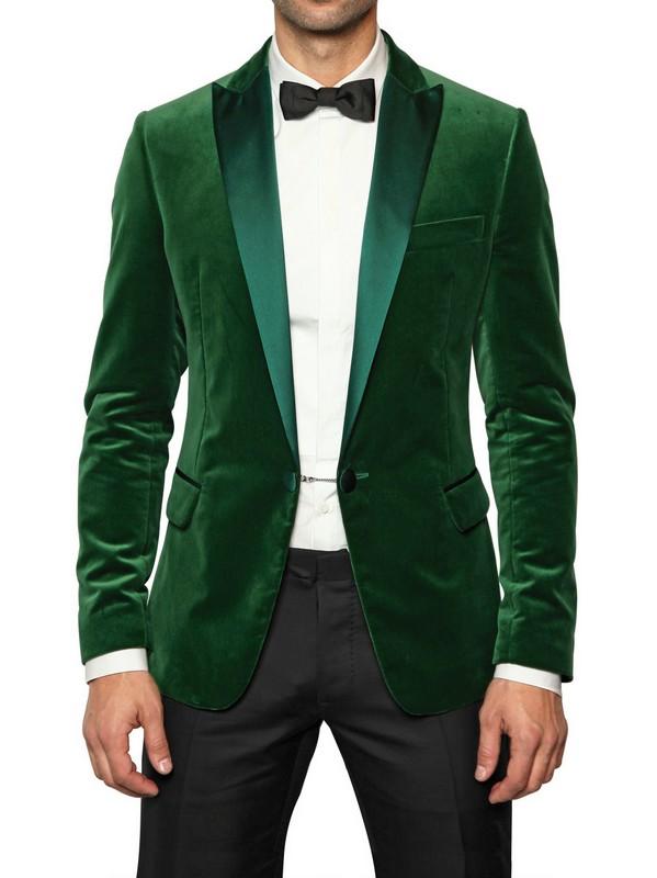 Dsquared 178 Satin Collar Velvet Tuxedo Jacket In Green For