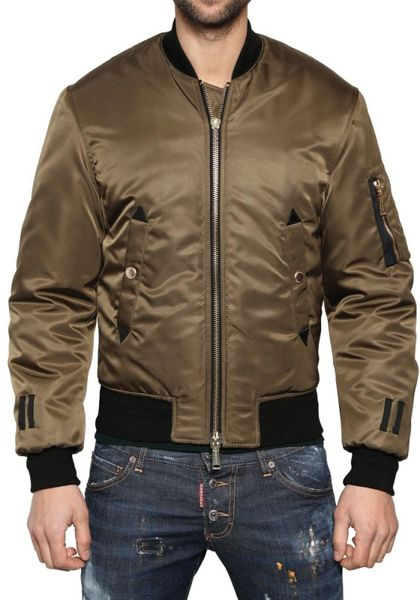 Dsquared2 Shiny Nylon Bomber Jacket in Green for Men - Lyst