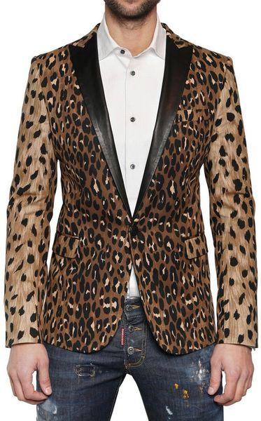Dsquared 178 Calfskin Leopard Print Tuxedo Jacket In Animal