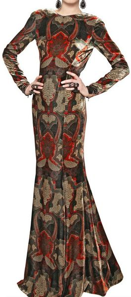 Etro Printed Viscose Silk Velvet Long Dress in Multicolor (multi)