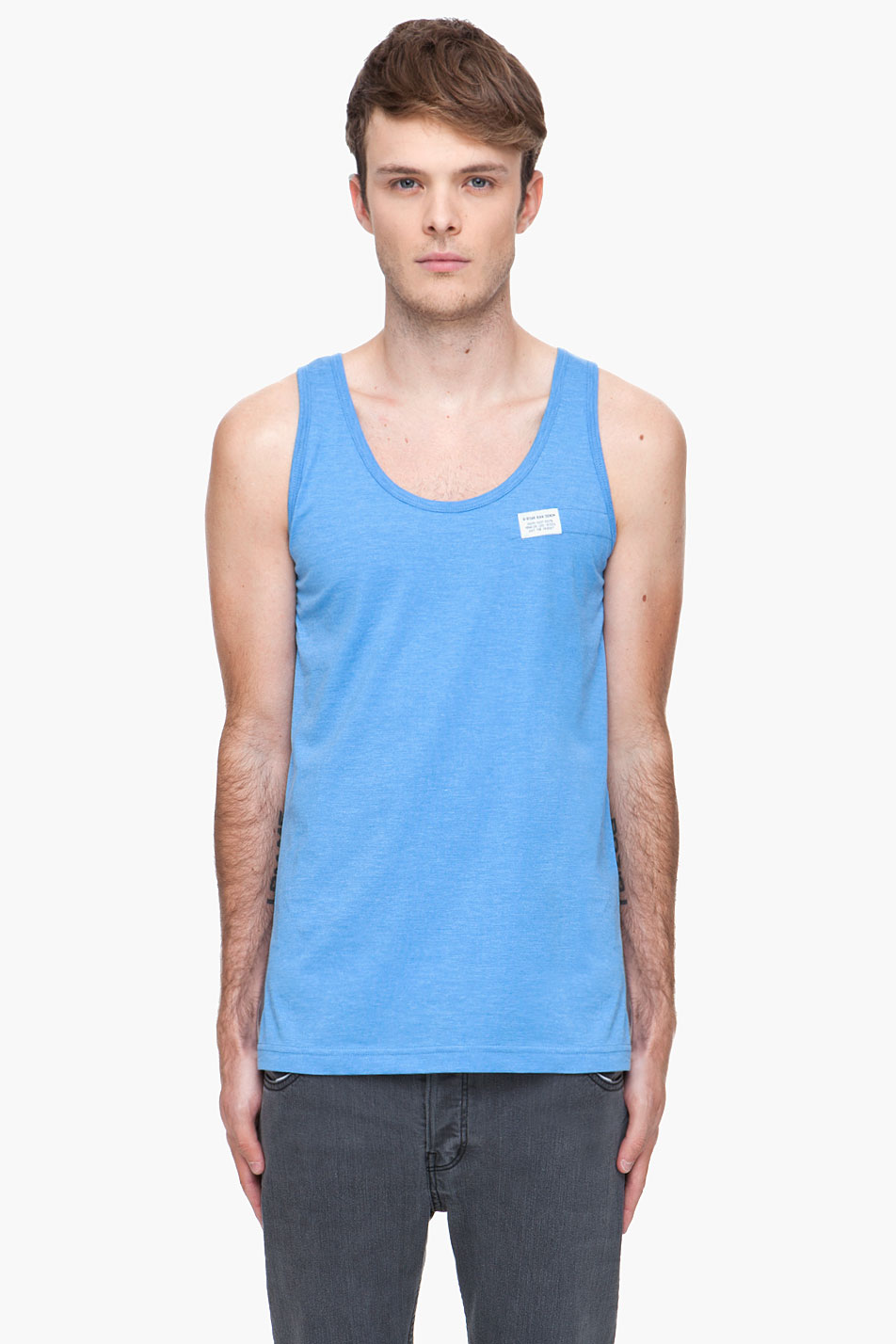 g star raw blue scout tank top in blue for men lyst. Black Bedroom Furniture Sets. Home Design Ideas