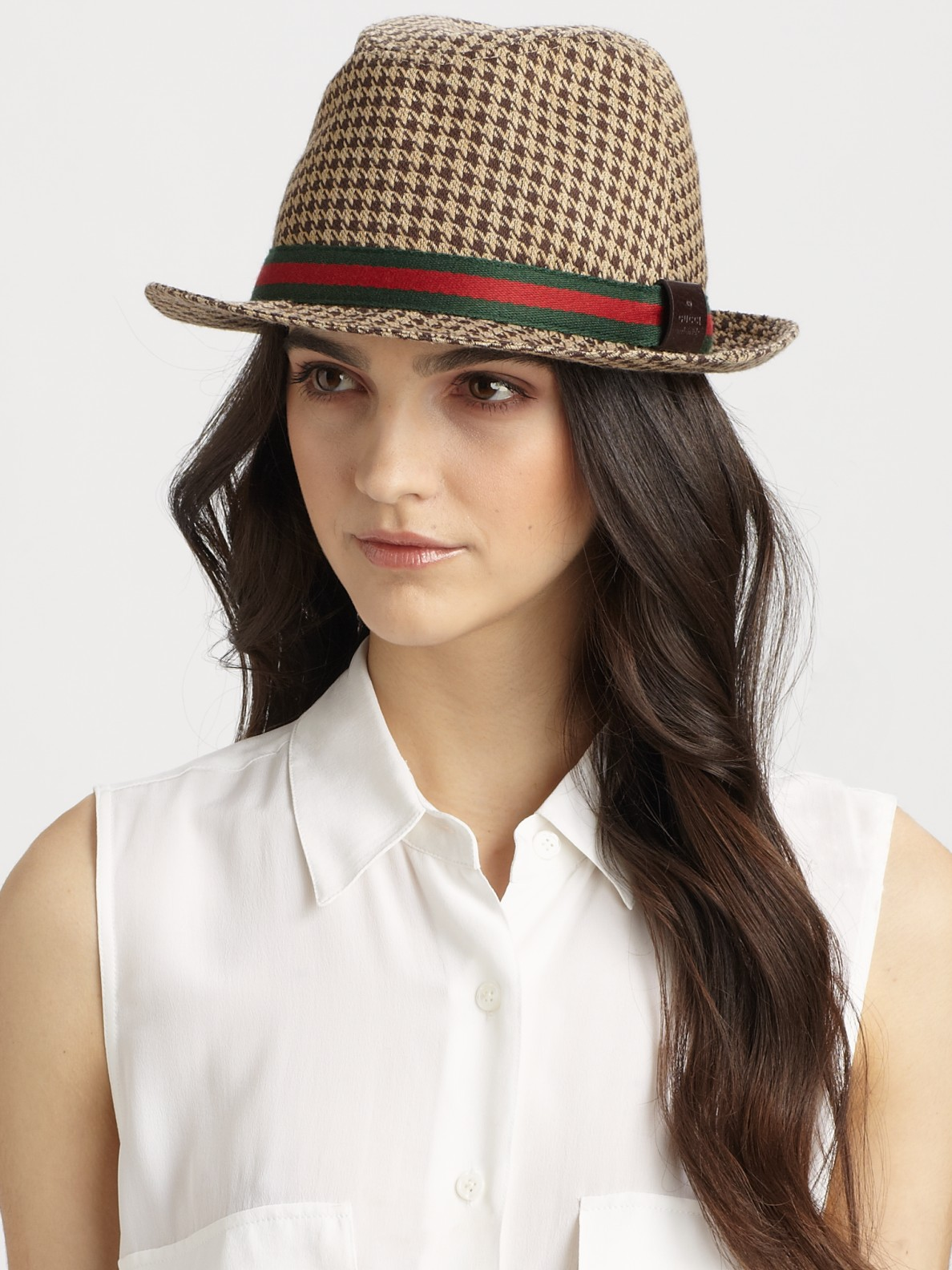 4eea977ac Gucci Houndstooth Fedora in Natural - Lyst