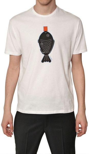 Jil Sander Fish Print Jersey Tshirt In White For Men Lyst