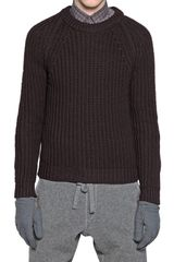 Lanvin Ribbed Knit Wool Sweater - Lyst