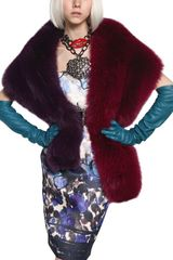 Lanvin Bicolor Fox Fur Shawl - Lyst