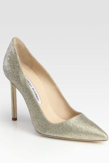 Manolo Blahnik Bb Glittercoated Pumps - Lyst