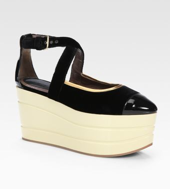 Marni Velvet and Metallic Leather Colorblock Wedge - Lyst