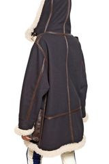 Marni Leather Detail Wool Cloth Coat - Lyst