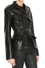 McQ by Alexander McQueen Ruched Back Shiny Leather Jacket - Lyst
