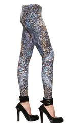 Mcq By Alexander Mcqueen Feather Print Lycra Jersey Leggings in Blue (teal) - Lyst