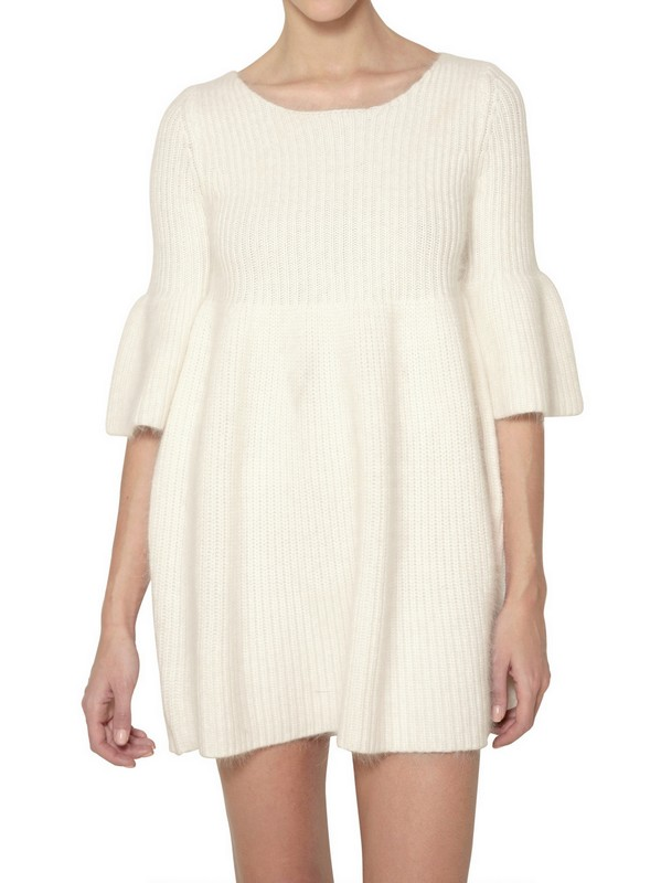 Mes demoiselles Alpaca Wool Knit Mini Dress in White Lyst