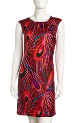 Milly Feather Print Dress - Lyst