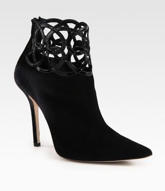 Oscar de la Renta Suede and Patent Leather Ankle Boots - Lyst