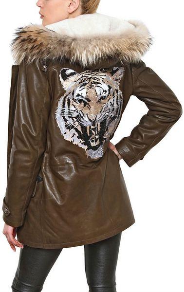Philipp Plein Nappa Leather Jacket with Fox Fur Trim in Brown   Lyst