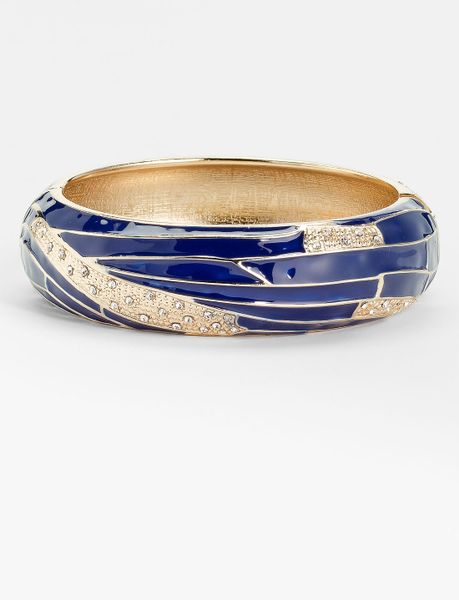 Sequin Large Insect Wing Enamel Bangle in Blue (navy/ gold) - Lyst