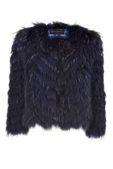 Versace Night Blue Fur Jacket - Lyst