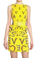 Versace Logoed Stretch Silk Crepe Dress - Lyst
