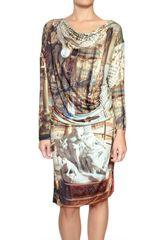 Vivienne Westwood Anglomania Printed Gathered Jersey Oversized Dress - Lyst
