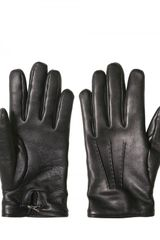 Yves Saint Laurent Shiny Y Logo Plaque Soft Nappa Gloves