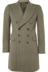 Yves Saint Laurent Double Breasted Wool Twill Overcoat - Lyst