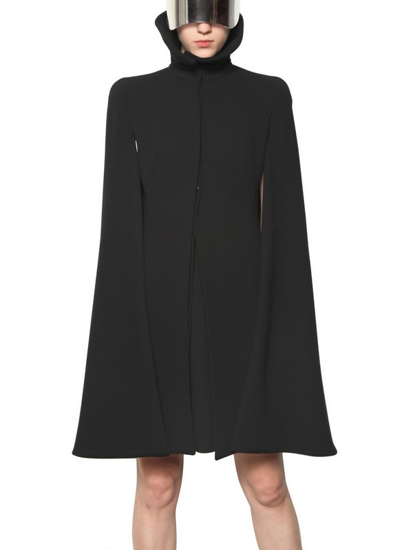Lyst Alexander Mcqueen Double Wool Crepe Cape In Black
