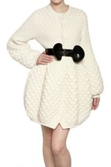 Alexander Mcqueen Honeycomb Wool Knit Coat in Beige (white) - Lyst
