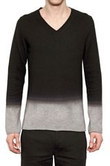 Ann Demeulemeester Degradé Wool Knit Vneck Sweater - Lyst