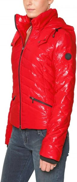 Armani Jeans Hooded Shiny Quilted Polyester Jacket In Red