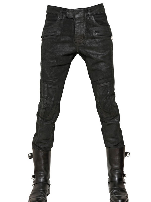 Lyst Balmain 18cm Waxed Moleskin Ankle Length Jeans In