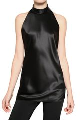 Balmain Halter Neck Silk Satin Top in Black - Lyst