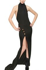 Balmain Halter Neck Viscose Jersey Long Dress - Lyst